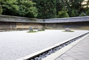 16486127 - rock garden (also called a zen garden) at the ryoan-ji temple in kyoto, japan.