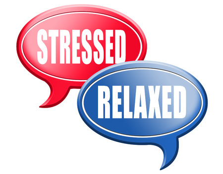 44526180 - relaxed stressed therapy to take it easy relax and be stress free assessment and management sign