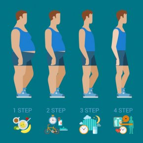 48577168 - flat man weight loss steps modern infographics concept. male profile figure before after. healthy food exercise sport sleep schedule cardio.