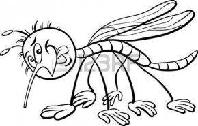 42521068-塗り絵の蚊虫の黒と白の漫画イラスト