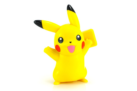 37902629 - bangkok,thailand - october 30, 2014: pickachu toy character from pokemon anime. there are toy sold as part of mcdonald happymeal toy.