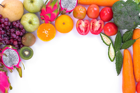 87657188 - healthy concept. different fruits and vegetables on white background.